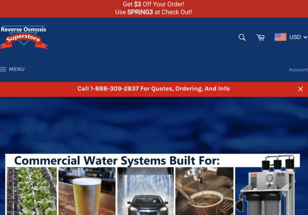 Reverse Osmosis Superstore | Water Treatment Systemsキャプチャー